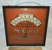 ANTIQUE McCORD GASKET RADIATOR MUFFLER GAS OIL CAR AUTO TIN THERMOMETER SIGN OLD