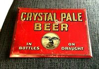 RARE CRYSTAL PALE BEER SIGN TIN OVER CARDBOARD TOC ZYNDA BREWING DETROIT MI