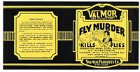 ORIGINAL C1920S PRODUCT LABEL COMICAL FLY MURDER INSECTICIDE VALMOR PRODUCTS B