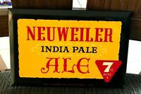 WOW NEUWEILER INDIA PALE ALE IPA METAL SIGN TIN OVER CARDBOARD TOC ALLENTOWN PA