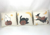 Halloween Farm House Rustic Small Decor Pillows Set Of 3 Witch Black Cat Ghost