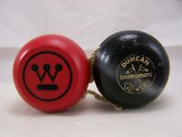 2 VINTAGE YO YO#x27;S WOOD DUNCAN TOURNAMENT CROSSED FLAGS WESTINGHOUSE ADVERTISING