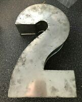VINTAGE CAKE TIN number 2 shaped silver baking 21st birthday cakes pan numerical
