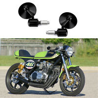 Universal Bar End Mirrors 7 8quot; Black Aluminum Motorcycle For Cafe Racer Bobber A $20.65