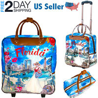 """Carry On Luggage 17.5"""" Wheeled Lightweight Suitcase Travel Set Bag Rolling Troll"""