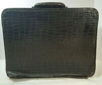 Vintage Brown Small Suitcase With Mirror 12quot; x 9.5quot; x 5quot; Luggage Faux Alligator