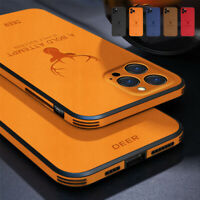 For iPhone 12 Pro Max 11 7 8 XS XR Leather Silicone Matte Soft Phone Case Cover