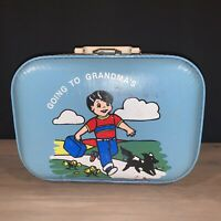 Vintage Luggage Going to Grandma#x27;s Boy Blue Hard Shell Suitcase