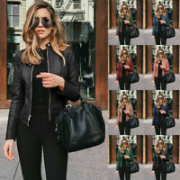 Womens Zipper Slim Casual Long Sleeve Solid Leather Coat Windproof Suit Jacket