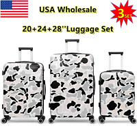 3 Piece Luggage Travel Set Bag ABS HardShell Trolly Suitcase Spinner Lightweight