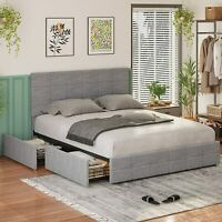 Full Queen Size Metal Platform Bed Frame Wooden Headboard Rustic Country Style