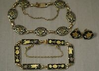 Vintage Set Of Two Damascene Bracelet#x27;s And One Pair Earring Gold Tone