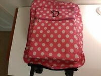"""💎USED💎 Kids Luggage Custom Letter D Set 12"""" Travel Trolley Suitcase PINK"""