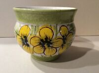 Large Pottery Bowl Yellow Flowers Marked Italy Beautiful Collectilble