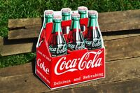 Coca-Cola 6 Pack Bottles Embossed Tin Metal Sign - Ice Cold Coke - Retro Carton