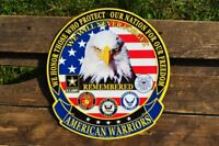 American Warriors Embossed Tin Metal Sign - Army Navy Air Force Marines - USMC