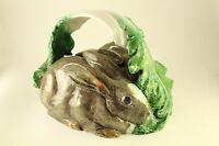 Bordallo Pinheiro Portugal Majolica Pottery Rabbit Bunny Game Platter Dish Cover