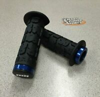 ODI Rogue Lock-on ATV Grips (130mm) - BLACK/BLUE- Thumb Throttle - Made in USA