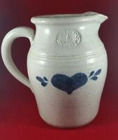 VINTAGE PINEWOOD VALLEY POTTERY 2 QT PITCHER WITH BLUE HEART, VG GENTLY USED
