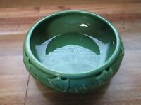 Beautiful Vintage Pottery Shawnee Green Ivy Bulb Planter Bamboo Bowl #3025 *MINT
