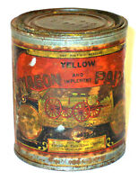ANTIQUE ADVERTISING COLLECTIBLE EMPTY YELLOW WAGON PAINT TIN CAN COUNTRY FARM