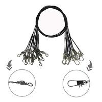 30CM Stainless Steel Fishing Leader Wire with Barrel Swivel Snaps Leader Rigging