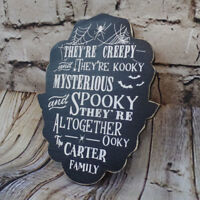 The Addams Family Lyrics Personalized Halloween Gothic Home Decor Wood Sign