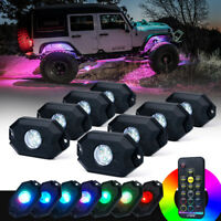 8PC Remote Control Truck Bed Underglow RGB LED Rock Lights for Offroad Jeep ATV