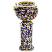 Victorian Flow Blue Porcelain Jardiniere and Matching Pedestal Stand