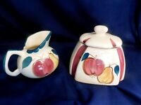 Purinton Pottery Slipware Tea Cannister and Creamer / Gravy Made in Good ole USA