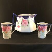Hand Painted Nippon Pitcher & 2 Cups Decorated With Roses & Cobalt Blue Edging