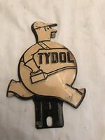 VINTAGE 1930'S TYDOL MAN LICENSE PLATE TOPPER WHITE