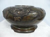 ANTIQUE JAPANESE BRONZE JARDINIERE w/RAISED DRAGON DESIGN & SCALLOPED BASE
