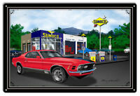 Mustang Car Red Garage Art Metal Sign By Rudy Edwards 16x24