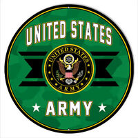 U.S. Army Military Eagle Metal Sign By Rudy Edwards 14x14 Round