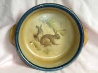MONROE SALT WORKS MAINE POTTERY RABBIT BUNNY SALT GLAZED SOUP BOWL W/ HANDLES