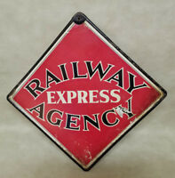 Original 1960's Railway Express Agency  Call Care Masonite Sign with Metal Frame