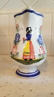 HERIOT QUIMPER FRANCE FAIENCE POTTERY LARGE PITCHER GREAT CONDITION