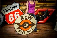 3' RARE Vintage 1960's A&W Root Beer Restaurant Soda Pop Gas Oil Metal Sign