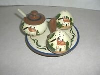 WATCOMBE, TORQUAY, MOTTOWARE, CONDIMENT SET, COTTAGE PATTERN, 1920-1953