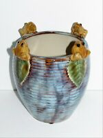 Adorable POTTERY VASE Planter with 3D FROGS Sitting Around Rim Blue Tones #375