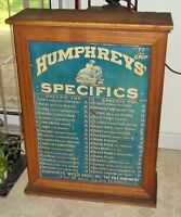 Antique Humphreys' Country Store Display Cabinet- Oak w/Tin Litho Adv Panel