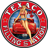 Sexy Texaco Gas And Oil Pin Girl Hotrod Route 66 14 Inch Round Metal Sign