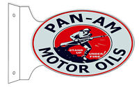 Pan-Am Motor Oil Double Sided Flange Sign 12X18 Oval