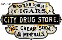 City Drug Store Country Cut Out Sign 24×15 Ice Cream Soda