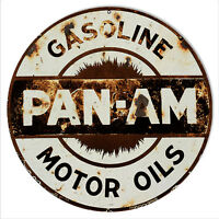 Reproduction Rusty Pan Am Motor Oils Sign 14 Round