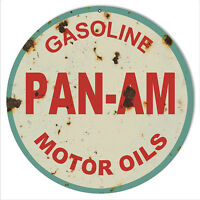 Reproduction Aged Pan Am Motor Oils Sign 14 Round  Metal Sign