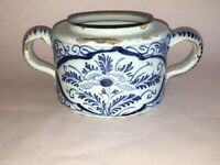 18th Century English Delft Handled Jar Blue Floral Decoration Ca. 1725