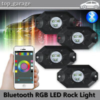 4x RGB LED Rock Lights Wireless Bluetooth Music Flashing Multi Color Offroad ATV