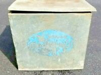Vintage Wells Blue Bunny Dairy Galvanized Metal Milk Box Lemars Iowa